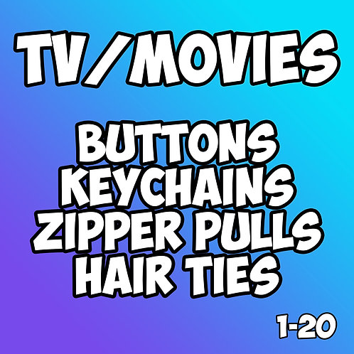 Tv and Movies Pin Badges 1-20