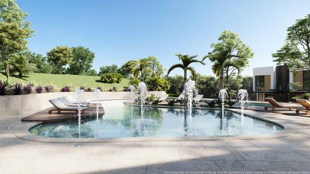 piscina splash pad espacio para niños casas club vistas santa ana condominio rio oro ameni