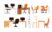 flat-collection-office-home-work-places-work-stations-set-furniture-desk-with-monitor-tabl