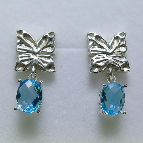 Natural Swissblue Topaz 925 Silver/ Gold/Platinum studs earrings