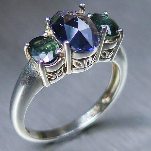 1.1ct Natural Iolite & sapphires  925 Silver / Gold/ Platinum ring