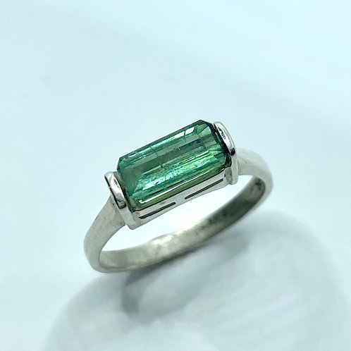 Natural Peacock Blue green tourmaline 925 Silver / Gold/ east west unisex ring