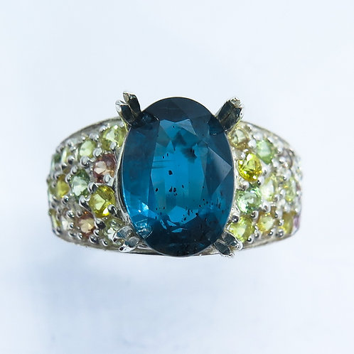 3.2ct Natural teal blue Kyanite 925 Silver / Gold/ Platinum/ Palladium ring