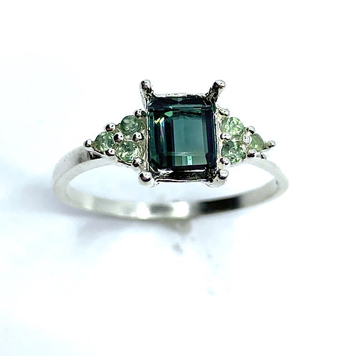 Natural Indicolite tourmaline 925 Silver / Gold/ engagement ring