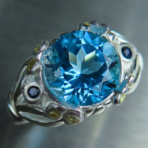 4.4ct Natural Swiss Blue Topaz 925 Silver / Gold/ Platinum ring