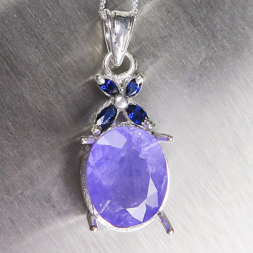 4.75ct Natural Purple Apatite Silver / Gold / Platinum pendant on chain