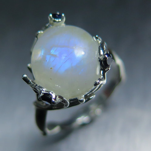 5.4cts Natural rainbow moonstone cabochon 925 Silver / Gold/ Platinum r