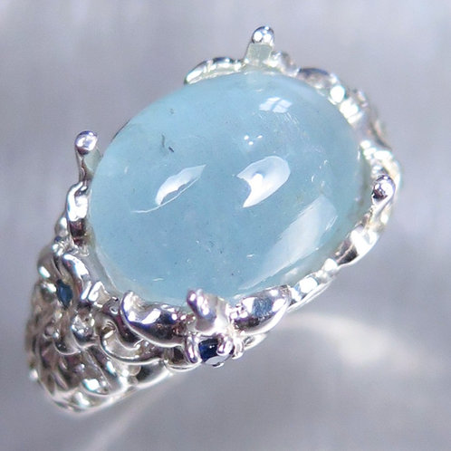 7.65cts Natural blue Aquamarine cats eye 925 Silver / Gold/ Platinum ring