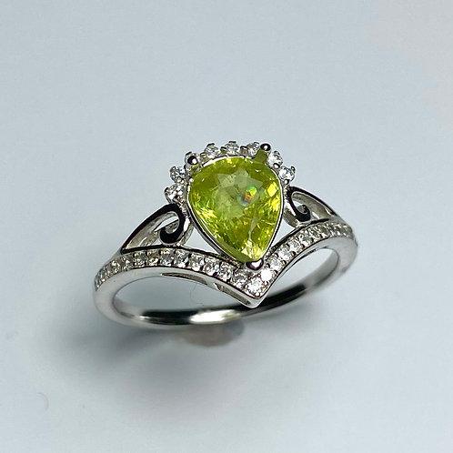 1.5ct Natural Titanite Sphene 925 Silver / Gold/ Platinum ring