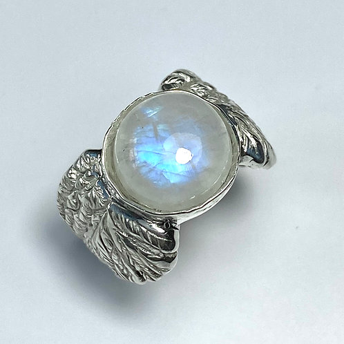 5.4ct Natural rainbow moonstone cabochon 925 Silver / Gold/ Platinum unisex ring