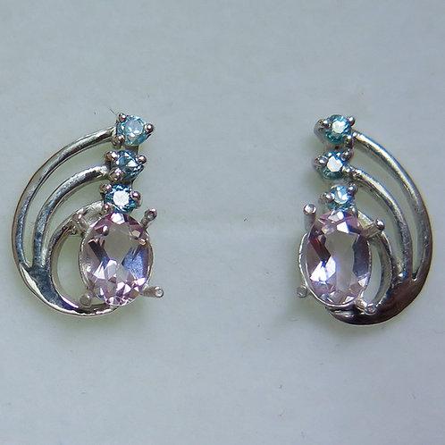 Natural Pink Morganite Beryl Silver /Gold / Platinum stud ear