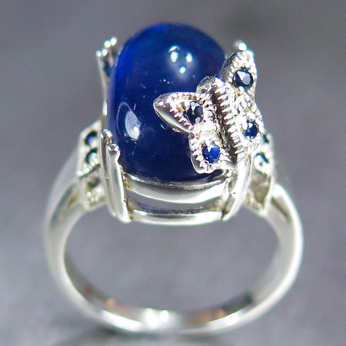 13.1ct Natural Royal blue Treated Sapphire 925 Sterling Silver ring