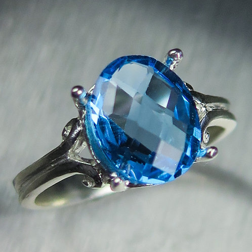 2.8ct Natural Swiss Blue Topaz 925 Silver / Gold/ Platinum ring