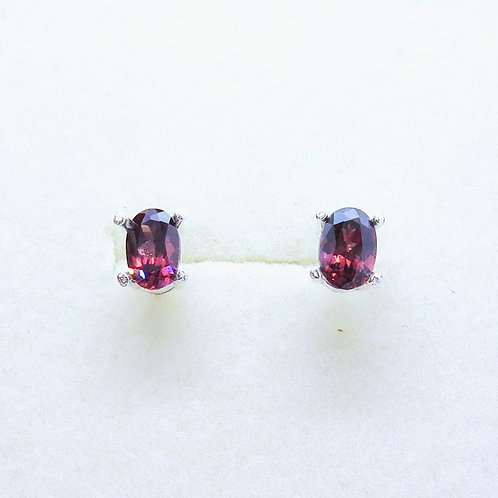 Natural Red  Zircon 925 Sterling Silver unisex stud earrings