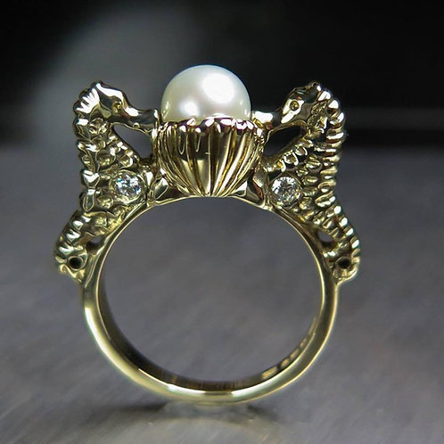 Natural freshwater white pearl 925 Silver / Gold/ Platinum seahorse ring