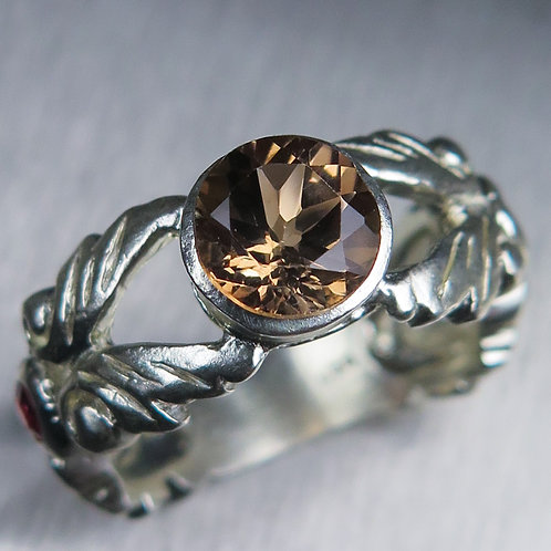 1.60cts Natural Imperial Topaz 925 Silver / Gold/ Platinum ring