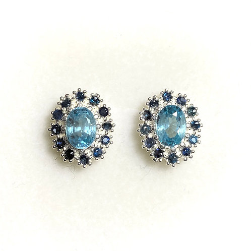 2.45ct Natural Paraiba zircon Silver /Gold halo stud earrings cluster