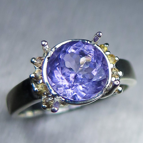 2.2ct Natural Purple Apatite 925 Silver / Gold/ Platinum ring