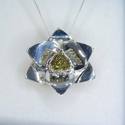 Natural Golden Zircon Silver / Gold / Platinum orchid pendant on cha