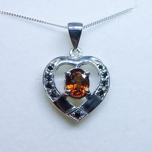 Natural Hessonite Garnet Silver / Gold / Platinum heart pendant