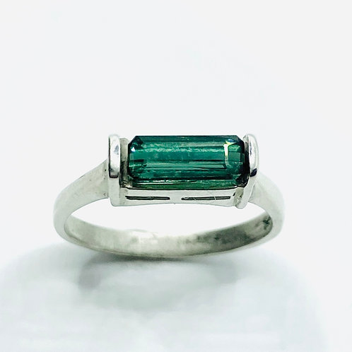 Natural Indicolite tourmaline 925 Silver / Gold/ east west unisex ring