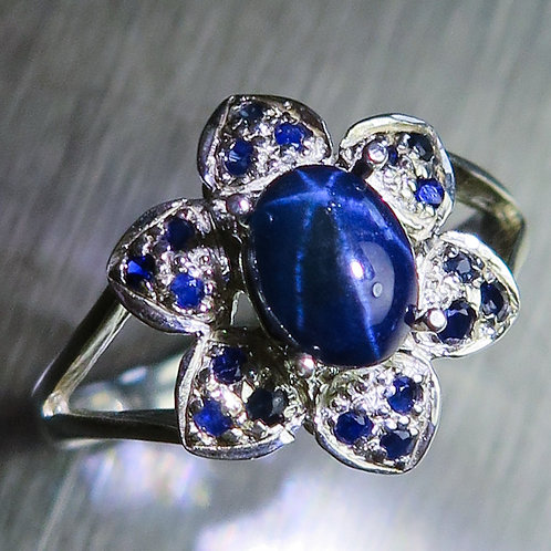 1.2ct Natural Dark blue star sapphire Silver/ Gold / Platinum ring