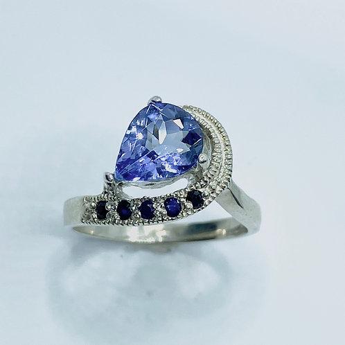 1.4ct Natural Purple Blue  Tanzanite 925 Silver/ Gold/ Platinum ring