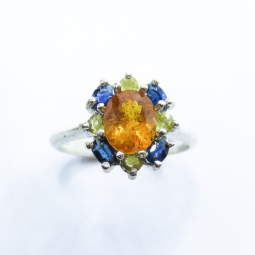 1.35cts Rare Natural orange Clinohumite 925 Silver / Gold/ Platinum ring
