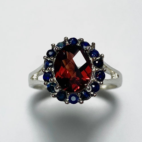 1.8ct Natural red rhodolite garnet 925 Silver / Gold/ Platinum ring