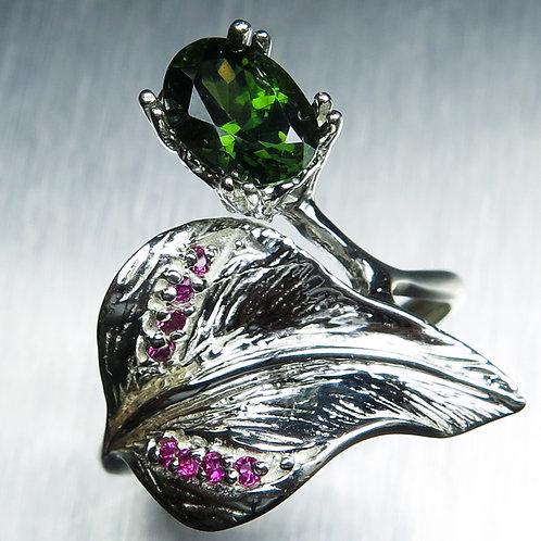 1.60ct Natural Green Zircon 925 Silver / Gold/ Platinum ring