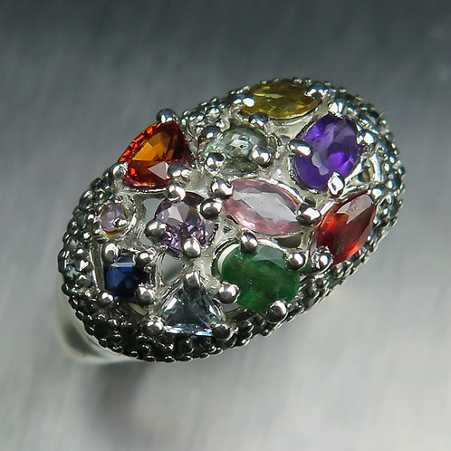 Natural Sapphire, Emerald, colour change garnet 925 Silver / Gold/ Platinum ring