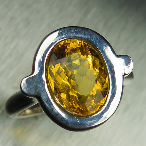 2.75ct Natural Yellow Heliodor Beryl 925 Silver / Gold/ Platinum ring