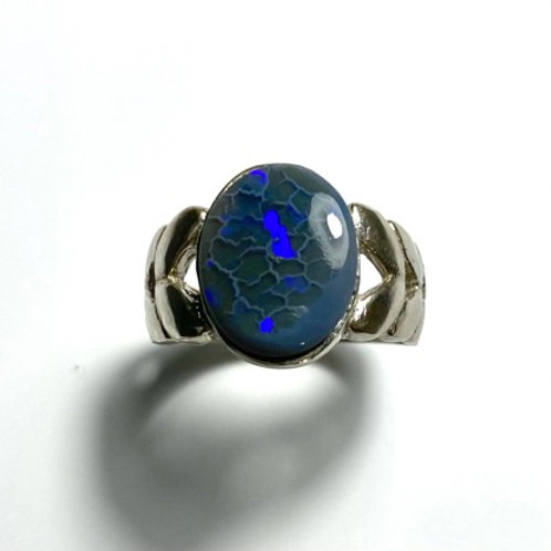 2.5cts Natural Australian Black Opal Silver / Gold / Platinum ring
