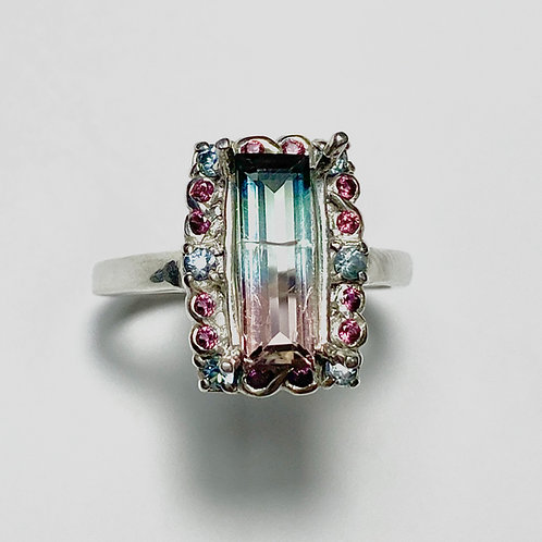 1.3ct Natural Watermelon Tourmaline 925 Silver / Gold/ Platinum ring