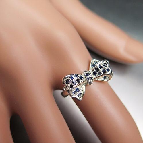 Natural Dark blue Sapphires 925 Silver / Gold/ Platinum bow ring