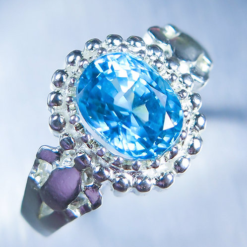 2.6cts Natural Paraiba blue Zircon 925 Sterling Silver ring