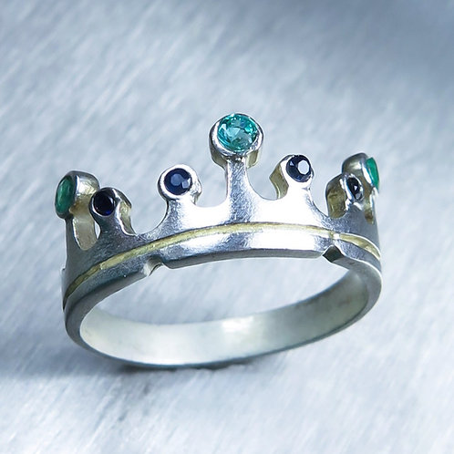 Natural Emerald 925 Silver / Gold/ Platinum crown wedding unisex band ring
