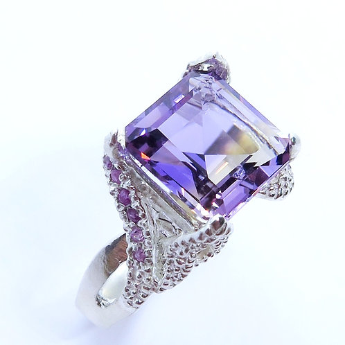 5cts Natural Bi-colour Ametrine 925 Silver / Gold/ Platinum ring