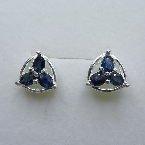 Natural Blue Sapphires Silver/ Gold/Platinum happy clover stud studs earrings