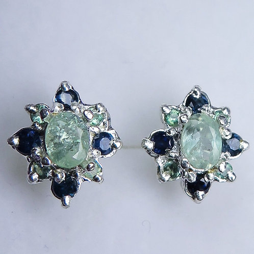 1.15cts Natural Alexandrite 925 Sterling Silver stud earrings