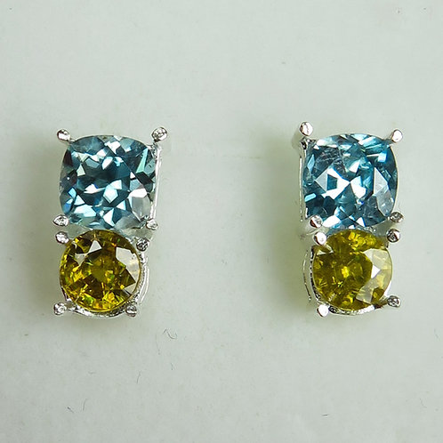 Natural Paraiba blue Zircon Silver /Gold stud earrings