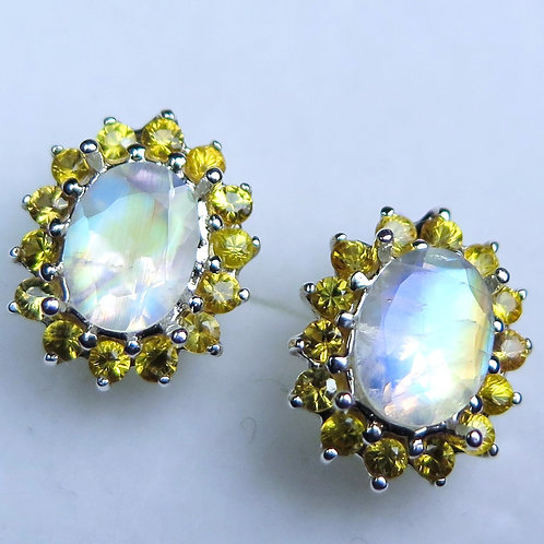 Natural Rainbow Moonstone Silver /Gold stud earrings