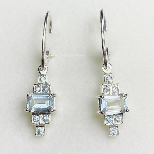 1.65ct Natural Aquamarine Silver /Gold dangling earrings drop art deco