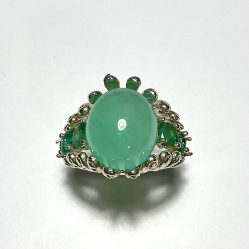8.55cts Natural Chrysoprase 925 Silver / Gold / Platinum ring