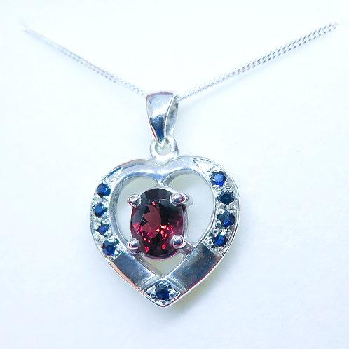 Natural Rhodolite Garnet Silver / Gold / Platinum heart pendant