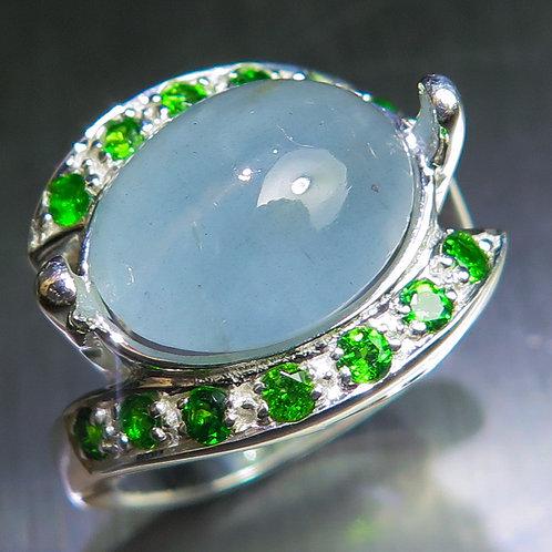6.55ctsNatural aqua blue Aquamarine cats eye  925 Silver / Gold/ Platinum ring