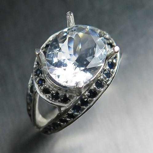 Natural Goshenite Beryl colourless aquamarine 925 Silver / Gold/ Platinum ring