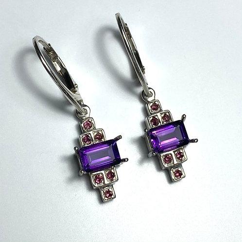 Natural Amethyst Silver /Gold / Platinum dangling earrings drop