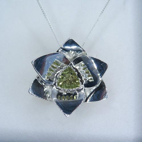 Natural colour change Diaspore Silver / Gold / Platinum orchid pendant