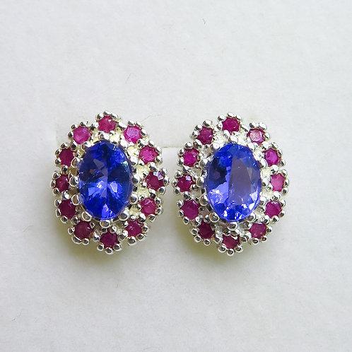 1.3ct Natural purple Tanzanite Silver /Gold / Platinum stud earrings